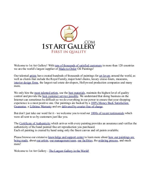 Welcome to 1st Art Gallery! With tens of thousands of satisfied customers in more than 120 countries we are the world's la...