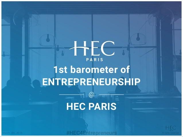 First Barometer Of Entrepreneurship At Hec Paris