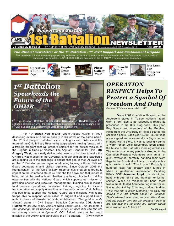 Volume 3, Issue 3                 by Authority of the Ohio Military Reserve.          In accordance with OHMR Regulation 6...