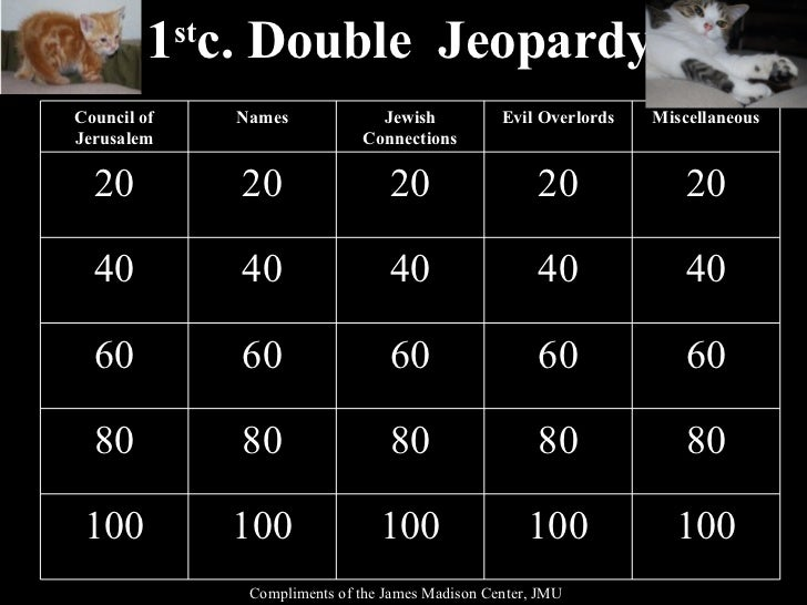 1 st c. Double  Jeopardy Compliments of the James Madison Center, JMU Council of Jerusalem Names Jewish Connections Evil O...