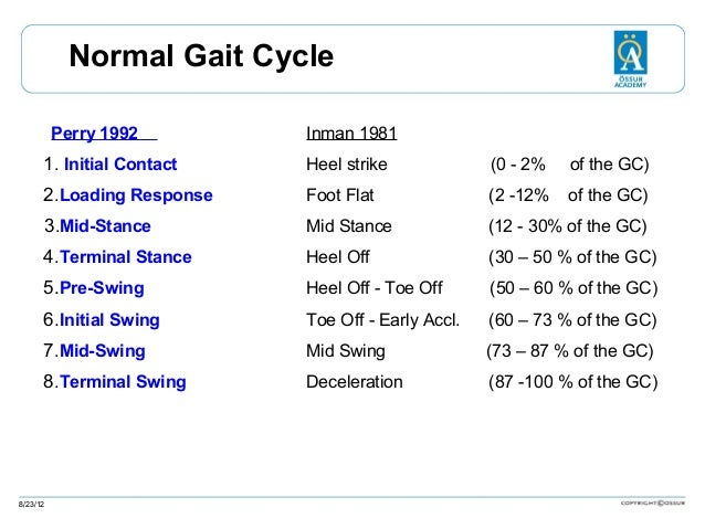 Normal Gait Cycle Perry 1992  Inman 1981  1. Initial Contact  Heel strike  (0 - 2%  of the GC)  2.Loading Response  Foot F...