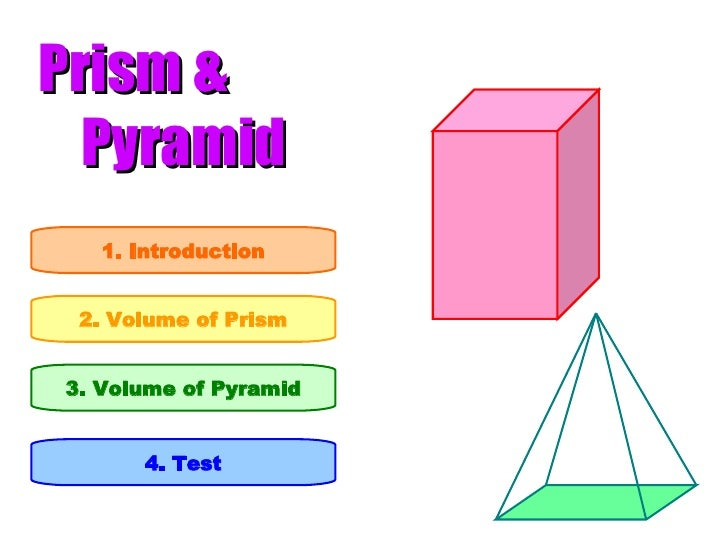 Prism &   Pyramid 1. Introduction 2. Volume of Prism 3. Volume of Pyramid 4. Test
