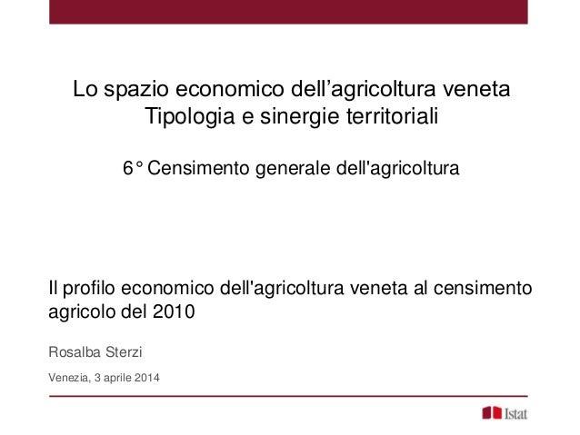 Lo spazio economico dell'agricoltura veneta Tipologia e sinergie territoriali 6° Censimento generale dell'agricoltura Il p...