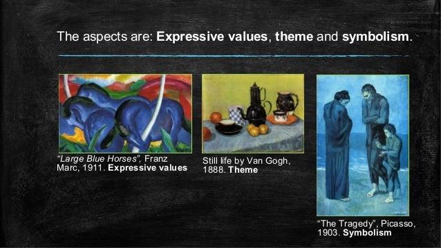 "The aspects are: Expressive values, theme and symbolism. ""Large Blue Horses"", Franz Marc, 1911. Expressive values Still li..."