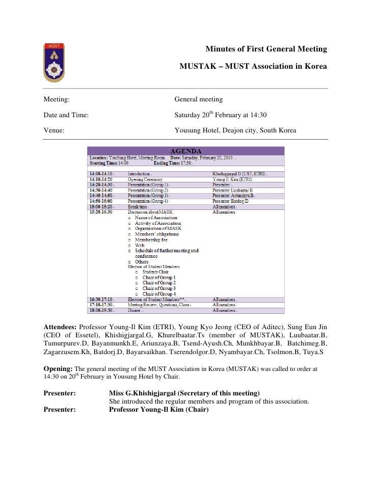 Minutes of First General Meeting                                                MUSTAK – MUST Association in Korea   Meeti...