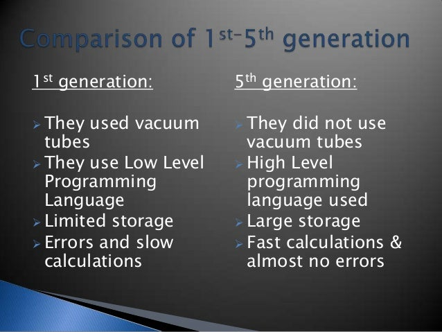 Generation of computer 1st to 5th
