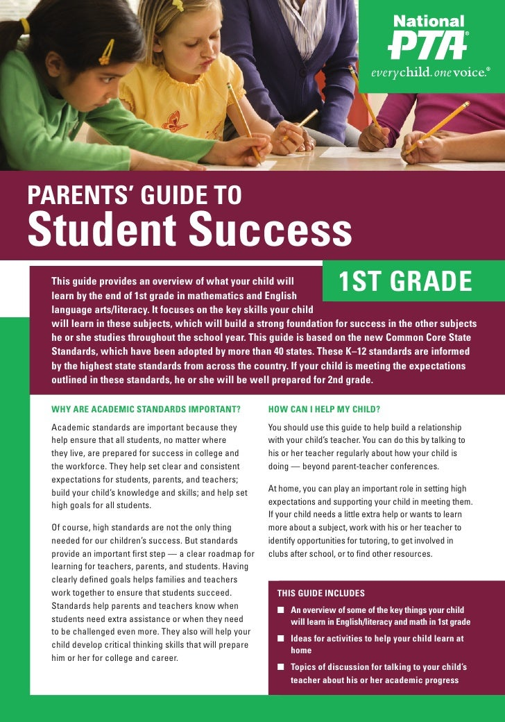 PARENTS' GUIDE TOStudent Success This guide provides an overview of what your child will learn by the end of 1st grade in ...