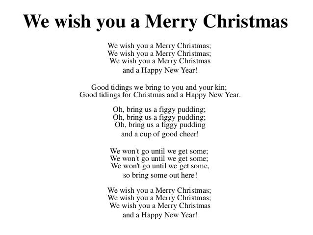Lyrics To We Wish You A Merry Christmas.1st Grade Songs