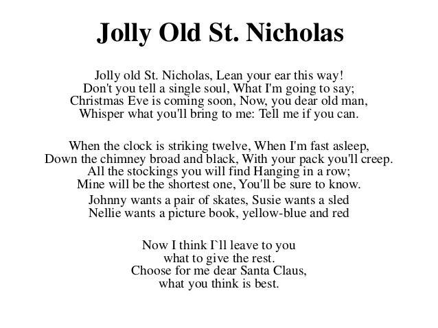 Jolly old st nicholas lyrics