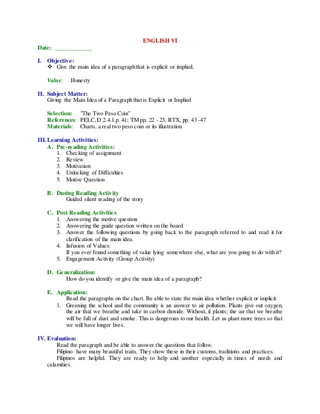1st grading 4th grading english – Implied Main Idea Worksheet