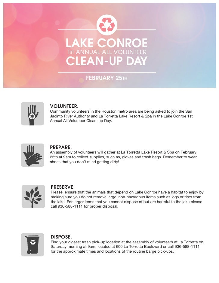 LAKE CONROE         1ST ANNUAL ALL VOLUNTEER         CLEAN-UP DAY                    FEBRUARY 25THVOLUNTEER.Community volu...