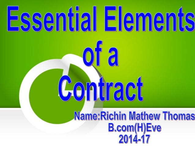 Essential Elements Of Contracts  Coursework Academic Writing