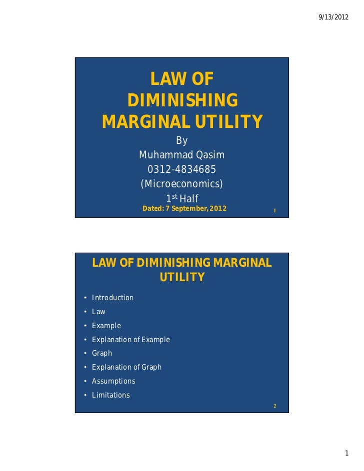 9/13/2012        LAW OF      DIMINISHING    MARGINAL UTILITY                        By                 Muhammad Qasim     ...