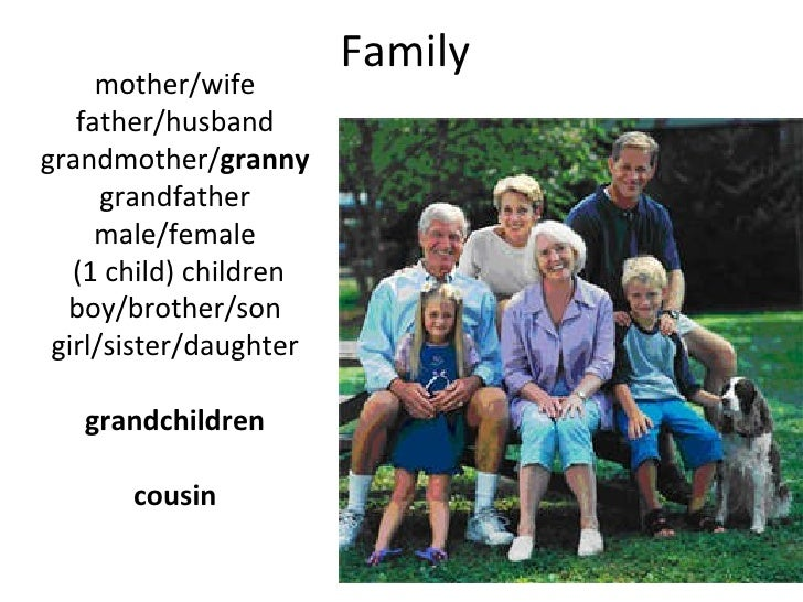 Family mother/wife father/husband grandmother/ granny grandfather male/female (1 child) children boy/brother/son girl/sist...