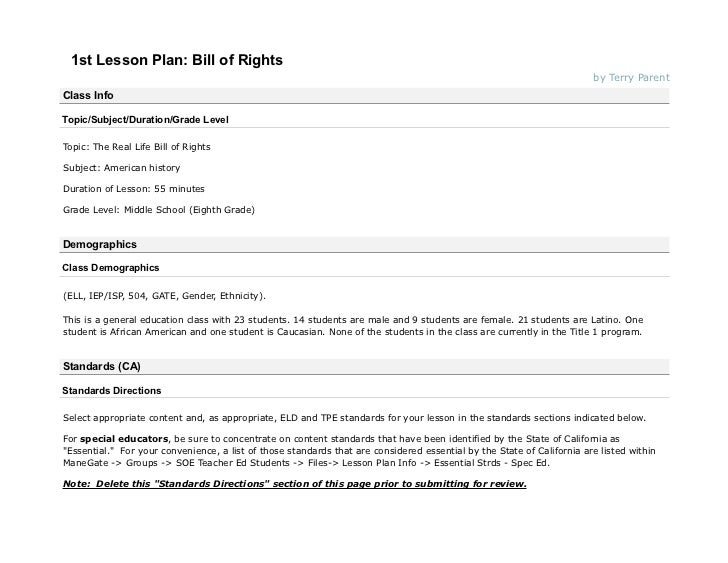1st Lesson Plan: Bill of Rights                                                                                           ...