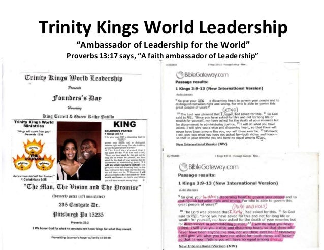 Trinity Kings World Leadership:1st married couple(King