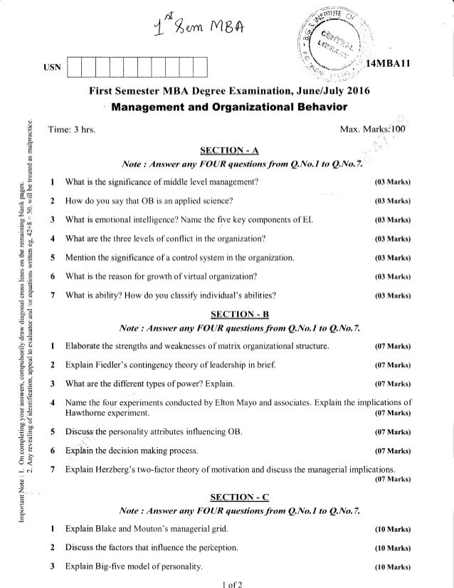 1st Semester MBA (Jun-2016) Question Papers