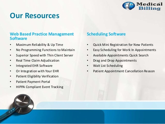 Our Resources Web Based Practice Management Software • Maximum Reliability & Up Time • No Programming Functions to Maintai...