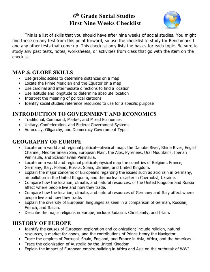 6th Grade Social Studies                                 First Nine Weeks Checklist        This is a list of skills that y...