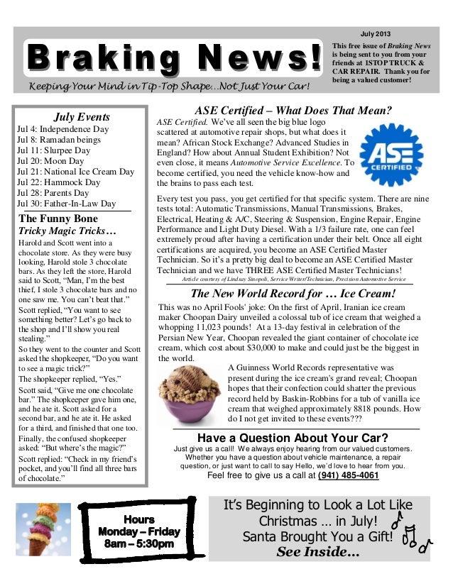 Breaking News- July 2013
