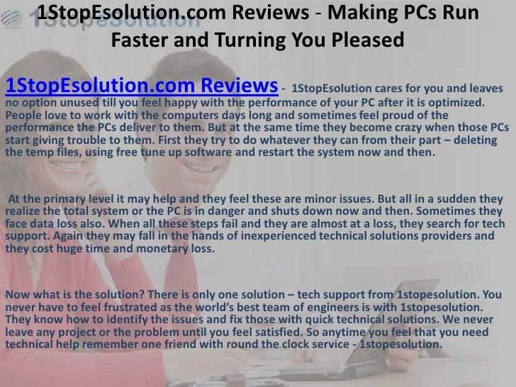 1StopEsolution.com Reviews - Making PCs Run             Faster and Turning You Pleased1StopEsolution.com Reviews - 1StopEs...