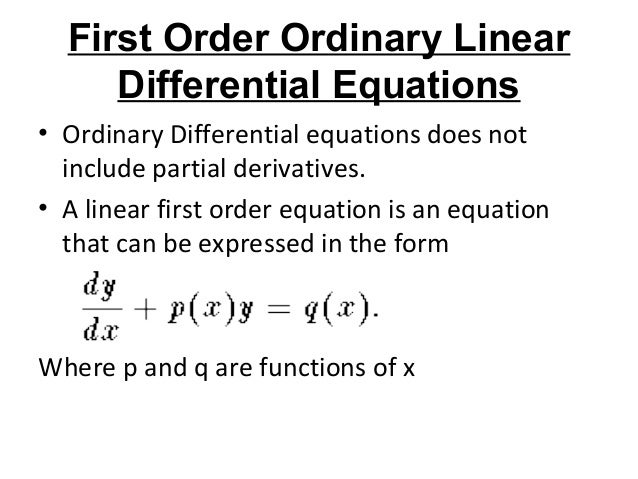1st order differential equations