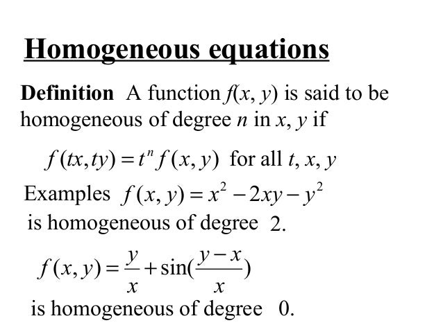 what is a homogeneous solution in differential equations