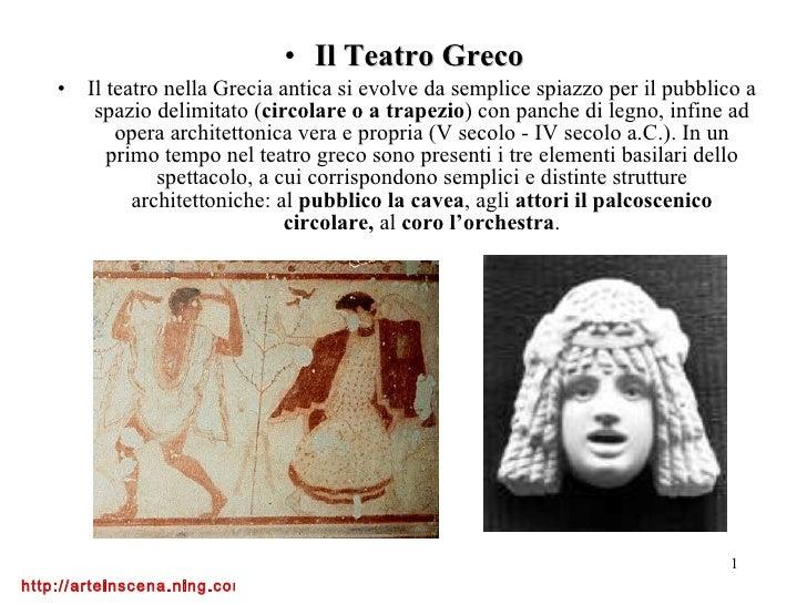 <ul><li>Il Teatro Greco   </li></ul><ul><li>Il teatro nella Grecia antica si evolve da semplice spiazzo per il pubblico a ...
