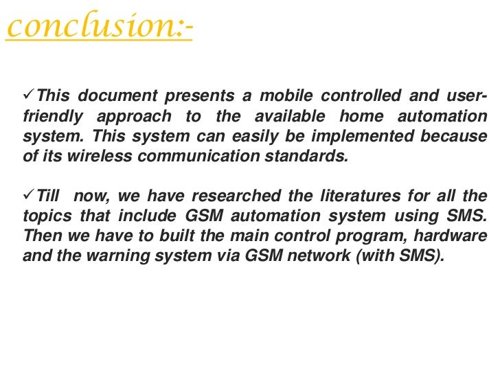 Project report on home automation using gsm
