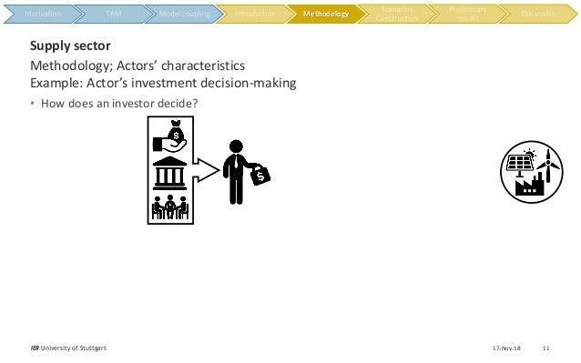 17-Nov-18IER University of Stuttgart 11 Methodology; Actors' characteristics Example: Actor's investment decision-making S...