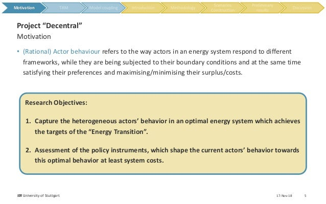 • (Rational) Actor behaviour refers to the way actors in an energy system respond to different frameworks, while they are ...