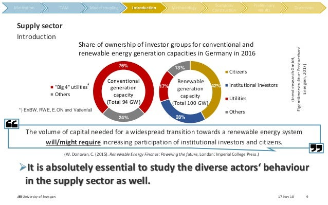 """17-Nov-18IER University of Stuttgart 9 Introduction Supply sector 76% 24% """"Big 4"""" utilities Others Conventional generation..."""