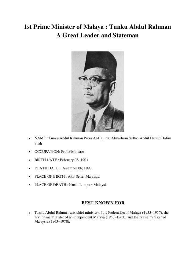 essay biography of tunku abdul rahman