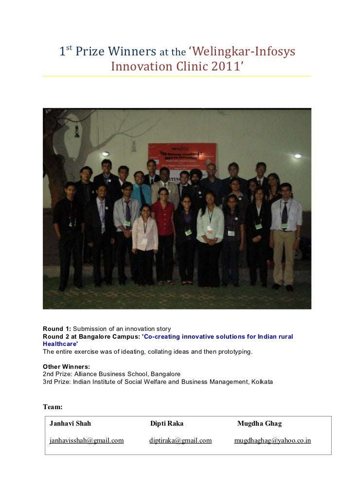 1st Prize Winners at the 'Welingkar-Infosys               Innovation Clinic 2011'Round 1: Submission of an innovation stor...