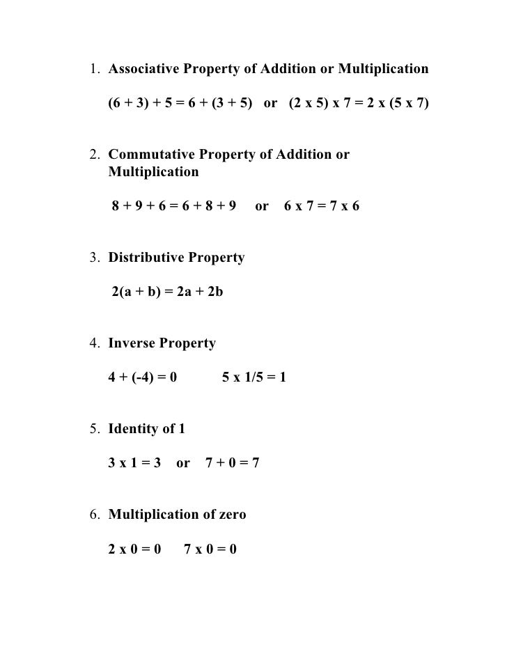 Worksheet 7th Grade Math 1st semester 7th grade math notes to memorize 1 associative property of addition or multiplication 6 3 5