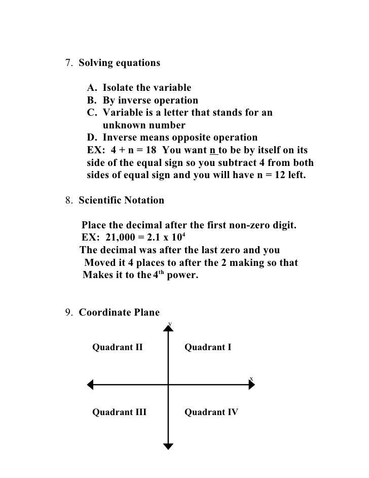 Worksheet 7th Grade Math 1st semester 7th grade math notes to memorize
