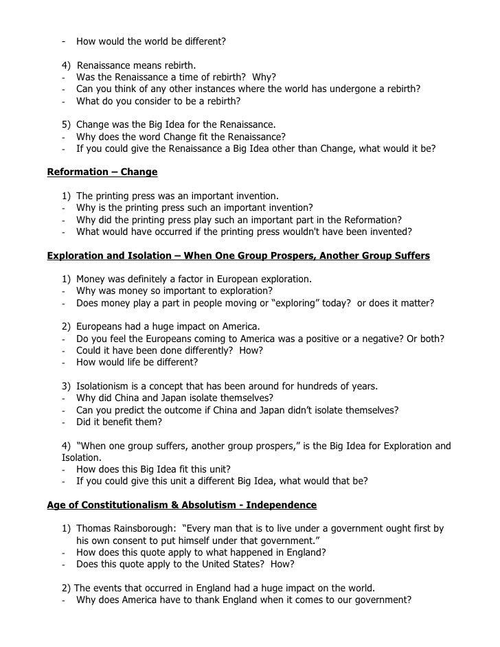 Seventh Grade (Grade 7) World History Questions