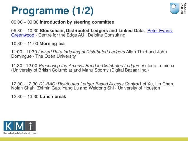 Programme (2/2) 12:30 – 13:30 Lunch break 13:30 – 14:30 Building Better Blockchains Manu Sporny - Digital Bazaar, Inc. 14:...