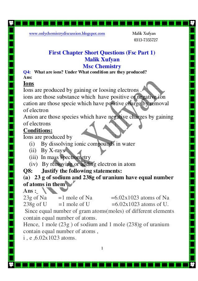 1st year chemistry 1st chapter short question answers
