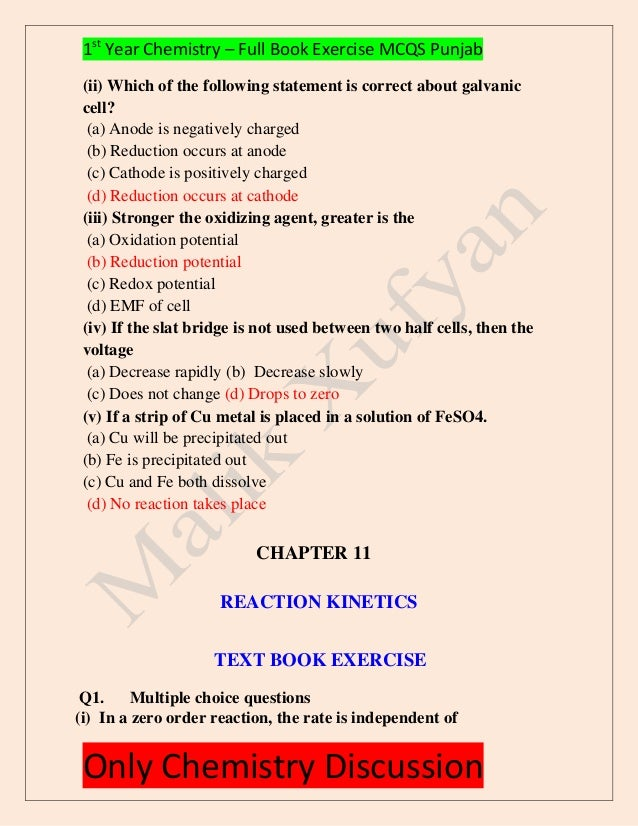 First Year Chemistry_Full Book Exercise Mcqs Solved