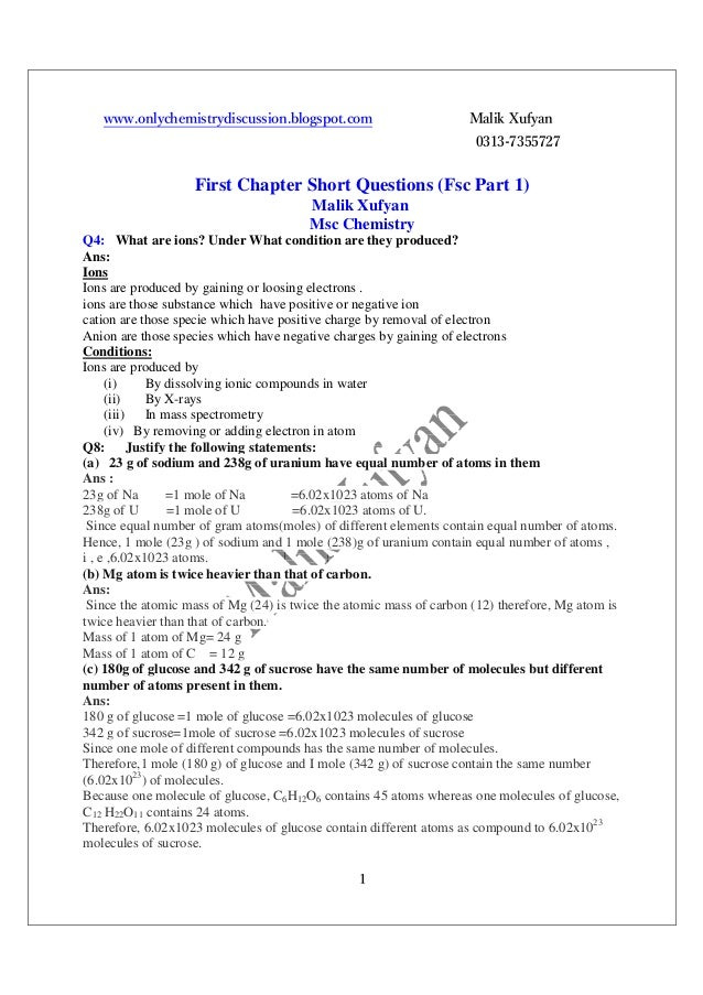1st year chemistry full book short question ans