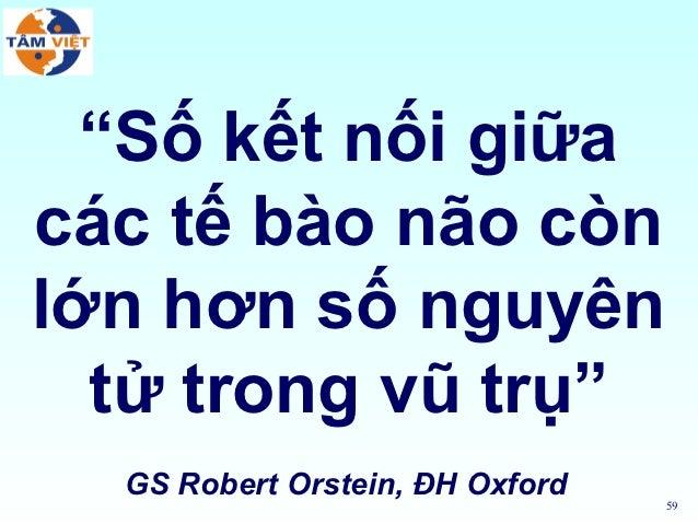"""""""Số kết nối giữacác tế bào não cònlớn hơn số nguyên  tử trong vũ trụ""""  GS Robert Orstein, ĐH Oxford                       ..."""