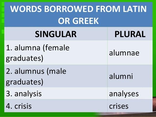 singular form of alumni
