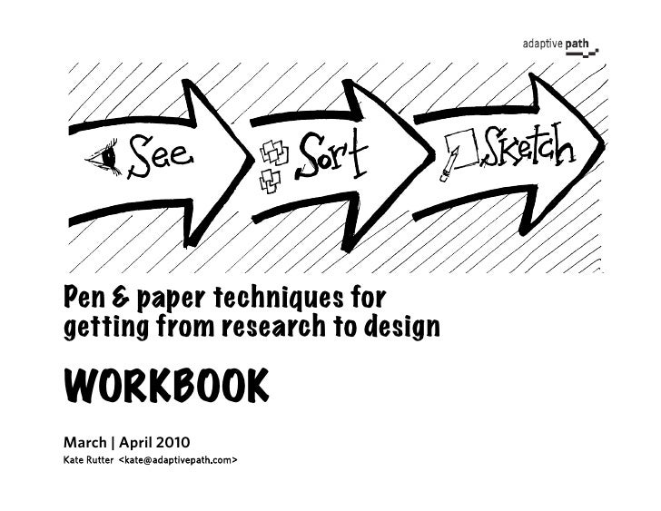 Pen & paper techniques for getting from research to design  WORKBOOK March | April 2010 Kate Rutter <kate@adaptivepath.com>