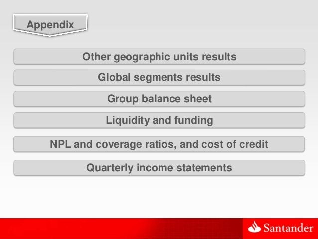 35 Global segments results Appendix Group balance sheet Liquidity and funding NPL and coverage ratios, and cost of credit ...