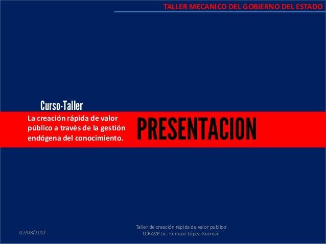 La creación rápida de valor público a través de la gestión endógena del conocimiento. 07/08/2012 Taller de creación rápida...