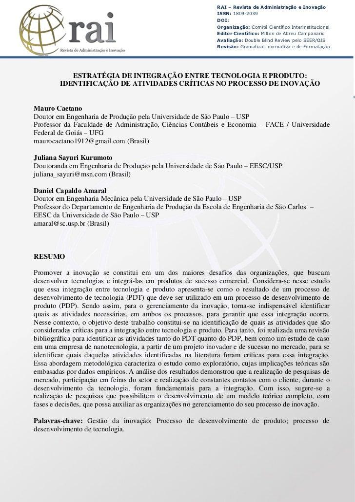 RAI – Revista de Administração e Inovação                                                                 ISSN: 1809-2039 ...