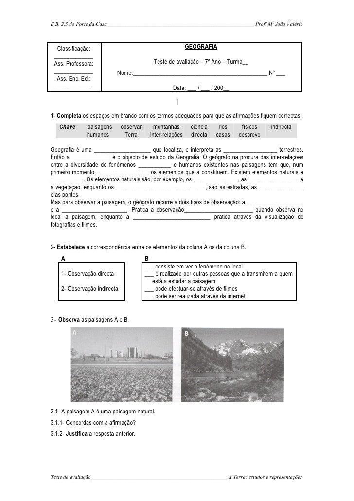E.B. 2,3 do Forte da Casa_______________________________________________________ Profª Mª João Valério      Classificação:...