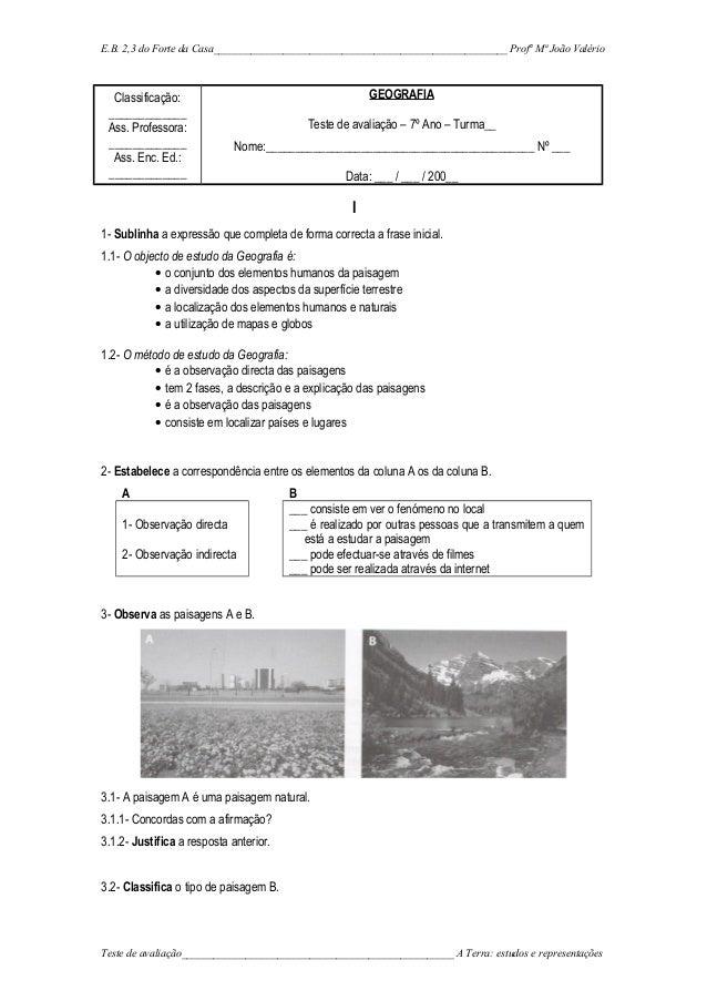 E.B. 2,3 do Forte da Casa_______________________________________________________ Profª Mª João Valério Classificação: ____...