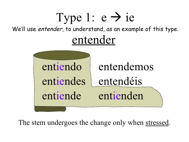 1 The Present Tense Of Stem Changing Verbs